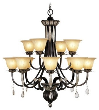 Livex Orleans 8149-40 Chandelier - Hand Rubbed Bronze with Antique Silver Accent modern-chandeliers