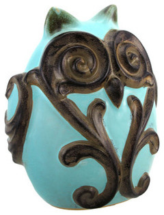 Light Blue Ceramic Owl Statue with Scroll Design contemporary-decorative-objects-and-figurines