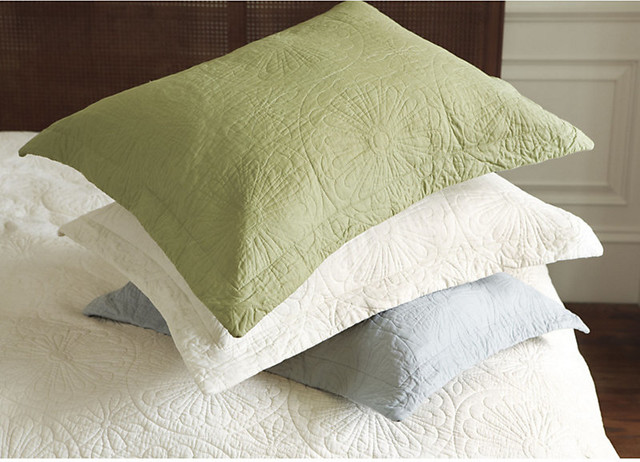 Sabrina Quilted Sham - Leaf Standard traditional-pillowcases-and-shams