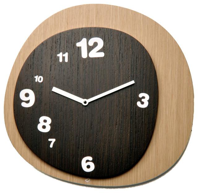 ... Wood/Dark Wood Wall Clock - Midcentury - Wall Clocks - by Modo Bath
