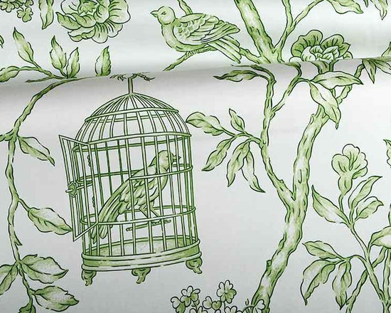 Bellevue Fabric in Green and White - Bellevue Fabric in Green and White is a floral and bird printed 100% cotton drapery fabric that also works well for bedding and pillows or light upholstery. A beautiful toile that is classic and pretty. Made with 100% cotton sateen, this fabric has a width of 54″ and a Vertical Repeat of 36″, Horizontal Repeat of 27″. Passes 20,000 Wyzenbeek double rubs. Dry Clean Only.