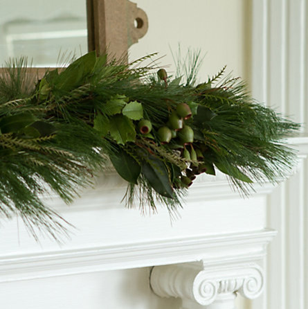 Pine & Bells Garland traditional-wreaths-and-garlands