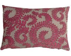 Pillow Decor - Brackendale Ferns Pink Rectangular Throw Pillow contemporary-pillows