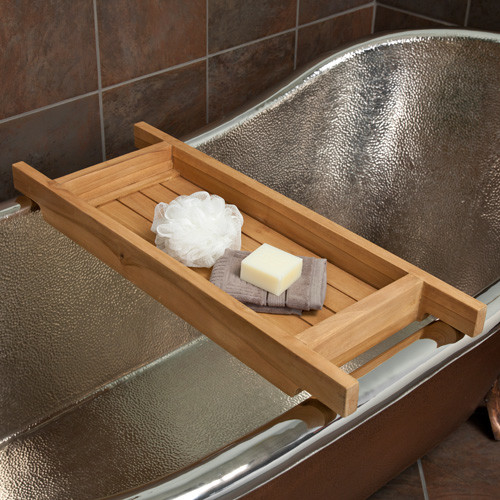 Teak tub caddy contemporary bathroom accessories by for Bathroom caddies accessories