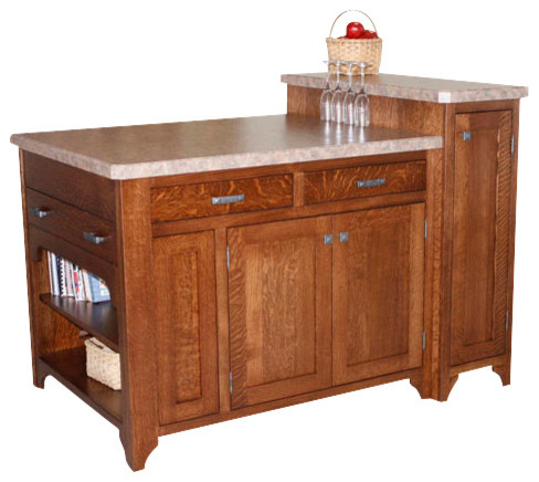 Chelsea Home Bobby Space Saving Kitchen Island in White Quartersawn Oak traditional-kitchen-islands-and-kitchen-carts