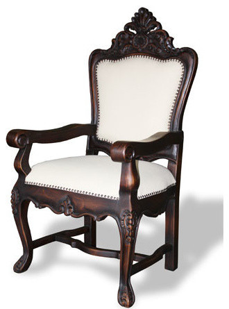 Spanish Carved Arm Chair, Dark Stain And Upholstered In ...