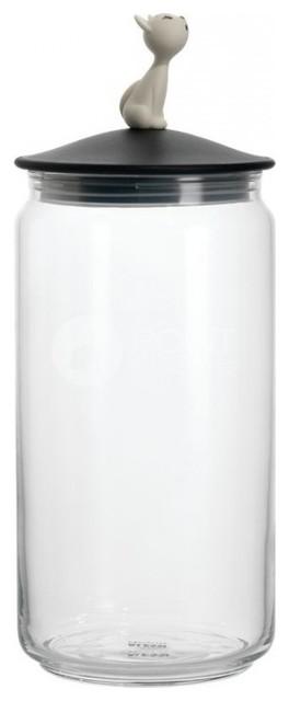 Alessi Mio Cat Food Jar, Black modern-pet-supplies