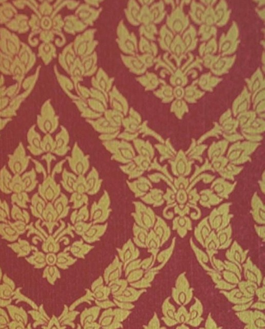 Thai Inspired Damask Pattern Textured Vinyl Wallpaper Red