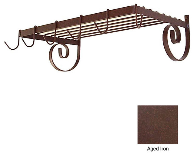 Wall Mount Shelf Rack with 6 Hooks - Aged Iron modern-pot-racks-and-accessories