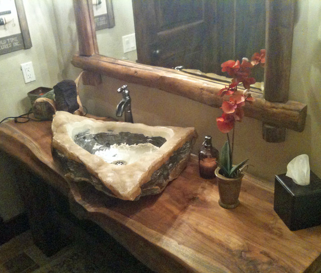 Quartz Marble Vessel Sink On Reclaimed Monkeypod Wood