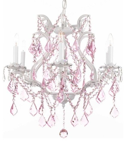 White Wrought Iron Crystal chandelier Lighting with Pink