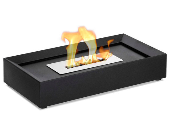 Moda Flame - Serpa Table Top Ethanol Fireplace - Serpa modern ethanol fireplace is an easily movable fireplace, due to its light weight and compact design. The powder coated steel rectangular shape is con-caved inwards to make room for decorative rocks, stones, marbles or shells.