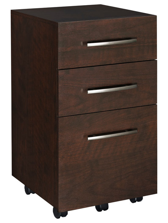 3-Drawer Mobile File Cabinet - Organize your workspace with ClosetMaid's 3-Drawer Mobile File Cabinet.  Complete with 2 box drawers and 1 file drawer, this file cabinet accommodates letter-size hanging files.  The drawers feature full-extension ball-bearing glides and the cabinet's locking casters provide mobility and stability. Combine  with multiple units or other items in the collection for a custom look.