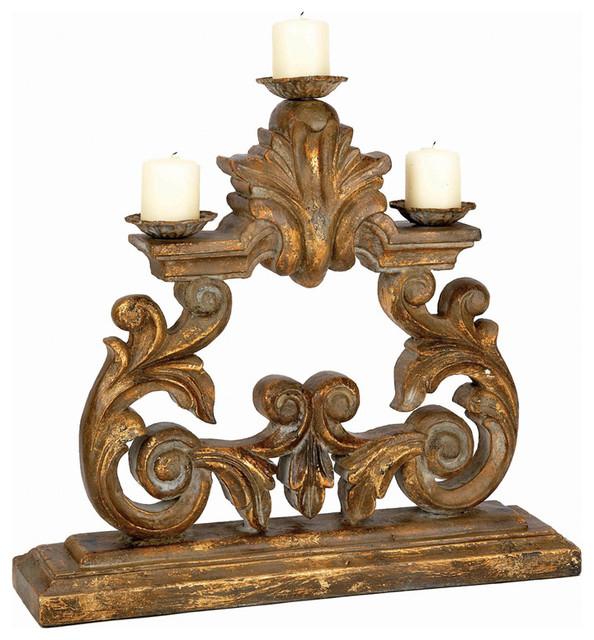 Old World Design Antique Gold Candleholder Contemporary