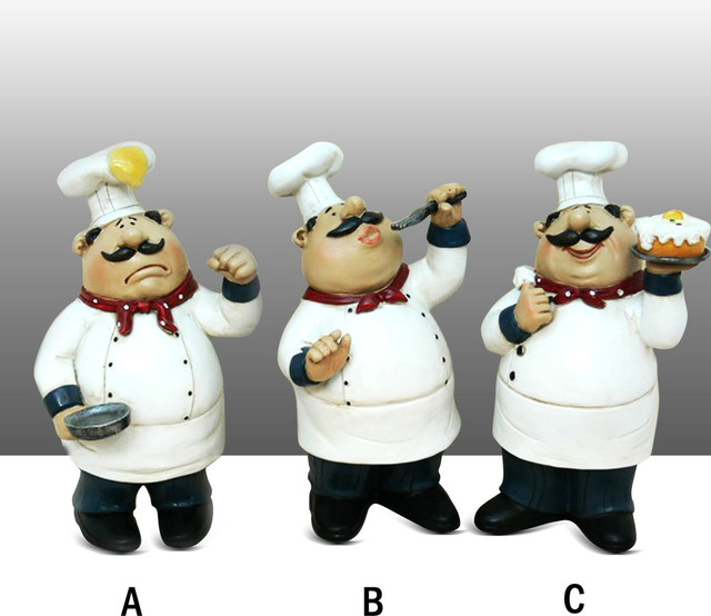 fat chef kitchen statue with pancake on head table top art