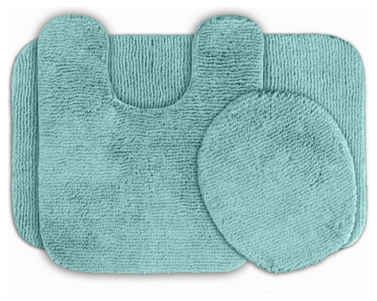 Sands Rug - Cheltenham Sea Foam Washable Bath Rug (Set of 3) - Add a layer of plush comfort and safety with the inviting Cheltenham bath and spa rug collection. Each piece, whether a bath runner, bath mat or contoured rug, is created from soft, durable, machine-washable nylon. Each floor piece is backed with skid-resistant latex for safety.