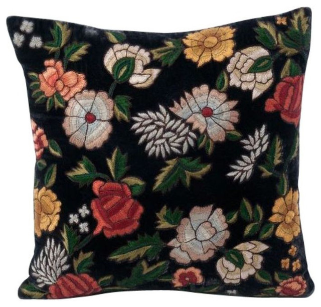 Decorative Pillows Retail : Anke Drechsel Floral Velvet Pillow in Dark Blue - $320 Est. Retail - $219 on Cha
