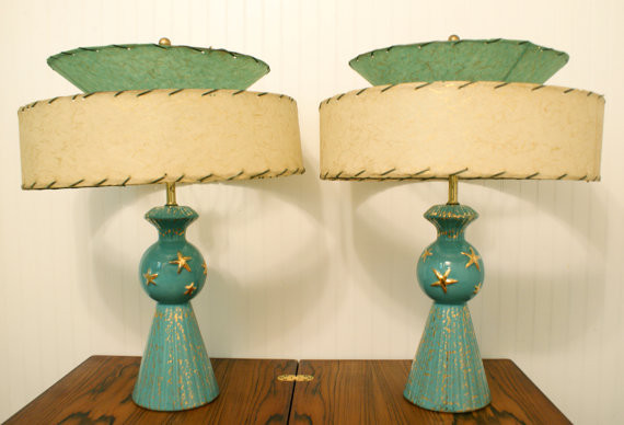 Pair Of 1950s Lamps With Gold Stars And Speckles By The