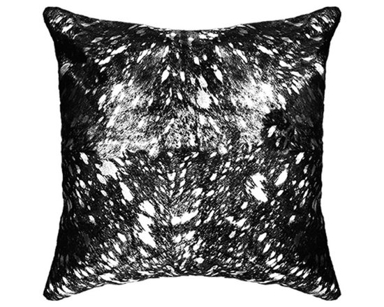 """BrandWave - Natural Cow Hide Pillows, 18"""" Square, Black and Silver Foil - This beautiful collection of pillows is hand-made from some of the finest Indian cowhide. Each piece is a one-of-a-kind work of art. The material is all natural and selected individually for the perfect color and texture. India is a Hindu state, and cows are sacred. As cows die from natural causes, the Indian government collects the leather, and we are able to implement it into our products."""