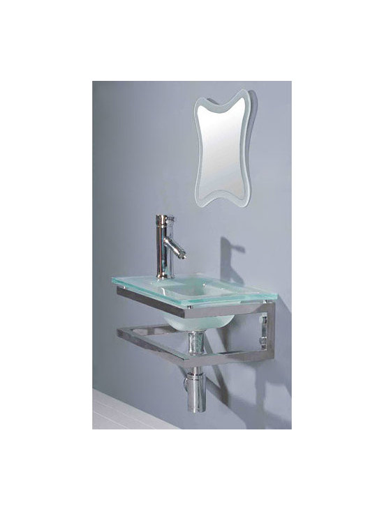 Color! - The Petite Glass Wall Hung Sink combines style and function with its stainless steel sink base and tea green, tempered glass countertop. This complete set includes a contemporary matching mirror, Chrome single hole faucet, pop up drain and lavatory trap.