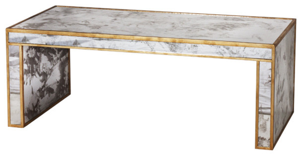 Worlds Away Antique Mirror Coffee Table With Gold Leaf