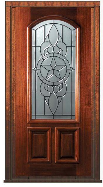 Prehung Entry Single Door 80 Mahogany Brazos 2 Panel Arch