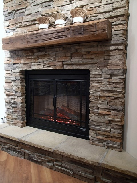ledge stone veneer interior fireplaces contemporary family room