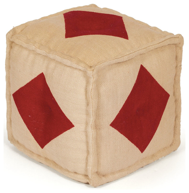 Hand Dyed House of Cards Diamond Kilim Cube Ottoman contemporary-footstools-and-ottomans