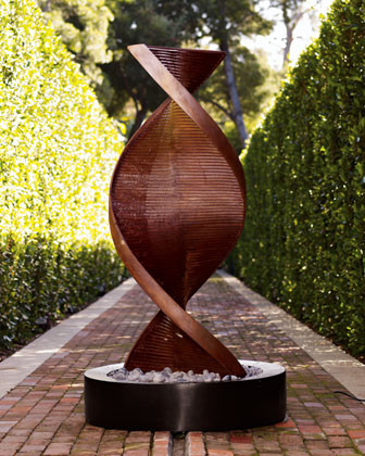 Twisted Copper Fountain modern-outdoor-fountains-and-ponds