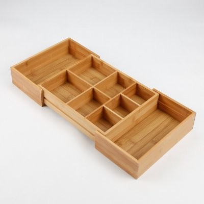 Lipper Bamboo Expandable Drawer Organizer with 2 Dividers - 20W in. modern-cabinet-and-drawer-organizers