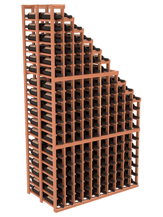 Double Deep Wine Cellar Waterfall Display Kit in Redwood with Satin Finish - The same beautiful cascading waterfall but in a double deep capacity. Displays 18 choice vintages in a tiered fashion. Designed within our modular specifications and to Wine Racks America's superior product standards, you'll be satisfied. We guarantee it.