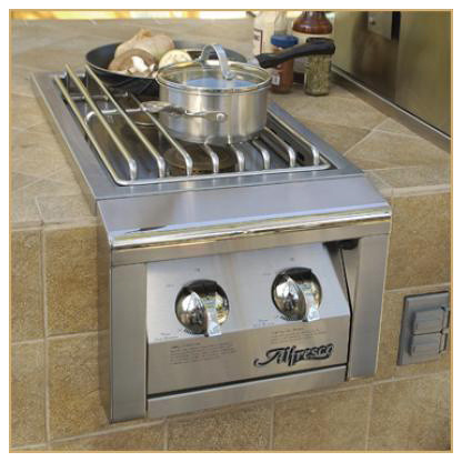 "Alfresco 14"" Built-in 2 Burner For Cart Mount, Stainless Propane 