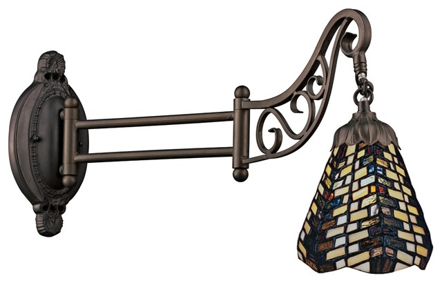 Tiffany Geometric Bronze Tiffany Style Swing Arm Wall Lamp ...