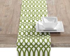 Geo Runner - Green modern-tablecloths