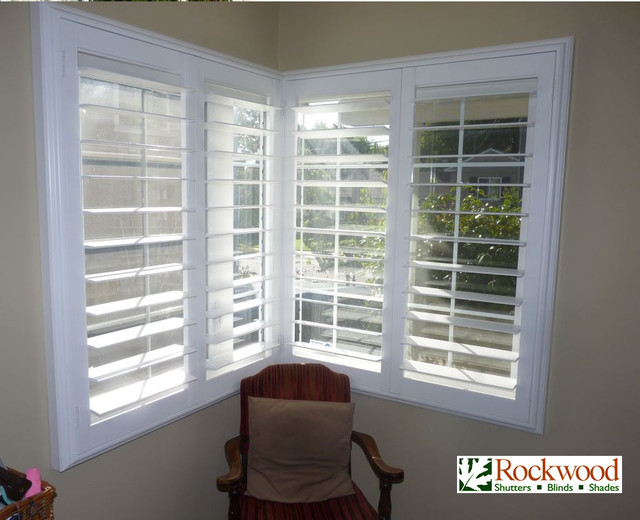 Window treatments for living room with blinds - Plantation Shutters Modern Houston By Rockwood