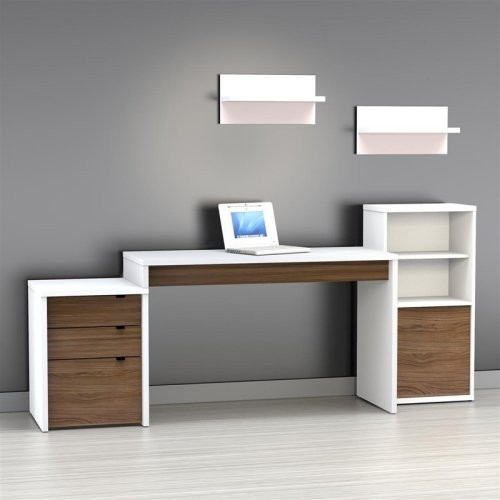 Nexera Liber T Computer Desk With Bookcase And Filing