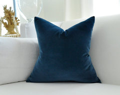 Cotton Velvet Pillow Cover, Navy Blue by Woody Liana contemporary pillows