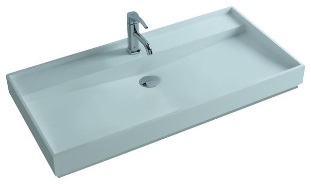 ADM White Countertop Stone Resin Sink - Contemporary ...