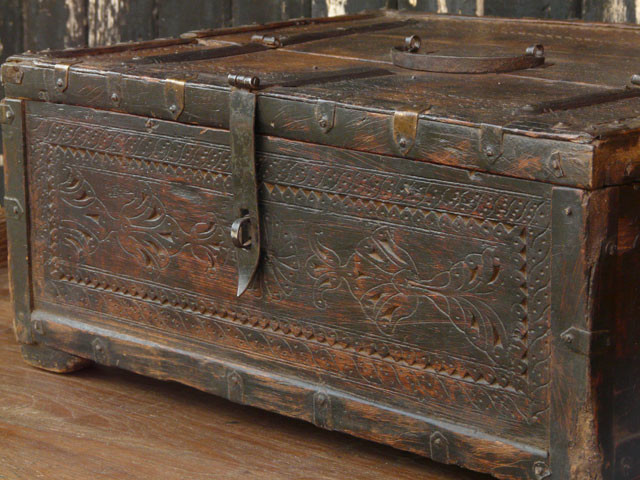 Old Wooden Memory Chest Traditional Accent Chests And