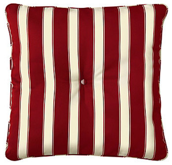 """25"""" Tufted Throw Pillow/Cushion 25""""Sq.x6"""" - Brick Awning Stripe contemporary-outdoor-pillows"""