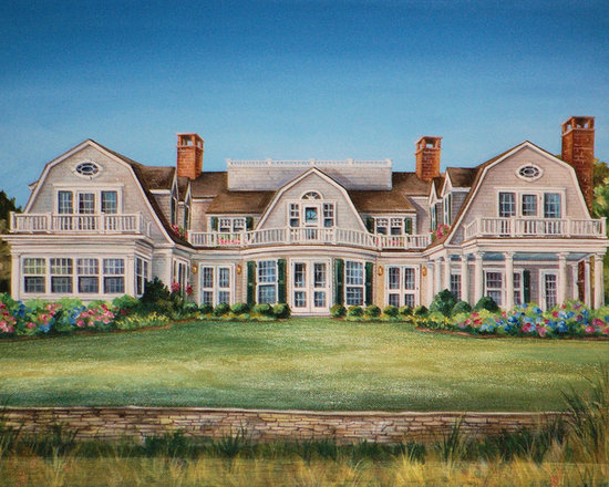 Custom House Portrait - Custom Designed Architectural House Portrait painted in oil by owner/artist Renee' MacMurray of MacMurray Designs in Hingham Ma., www.macmurraydesigns.com