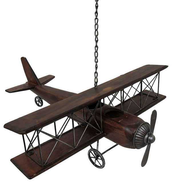 Wooden Airplane Wall Decor : Vintage look wood and metal biplane airplane hanging art