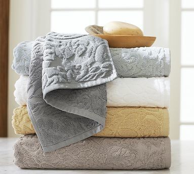 Isaac Sculpted Floral Bath Towel Gray Smoke Traditional Bath Towels By Pottery Barn
