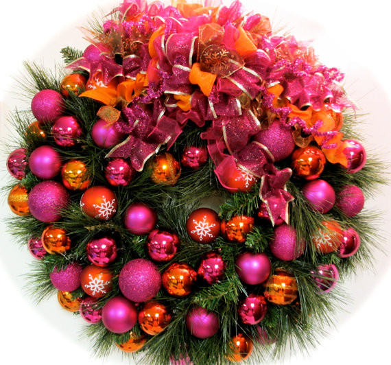 Bright Christmas Wreath, Pink and Orange by Sandy Newhart Designs eclectic-holiday-outdoor-decorations