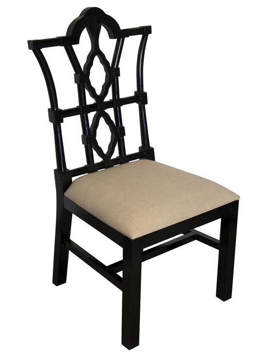 """Noir - Noir Emperor Distressed Black Side Chair - Featuring natural, simple and classic designs, Noir products supply a timeless complement to a variety of interiors. The majestic carved lines of the Emperor arm chair create a commanding presence in dining rooms. The furnishing's distressed black finish is hand-applied to the birch frame for a weathered finish, while the padded seat provides comfort. Available in light linen fabric.  23""""W x 24""""D x 42.5""""H."""
