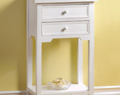 White Table with 2 Drawers traditional-side-tables-and-accent-tables