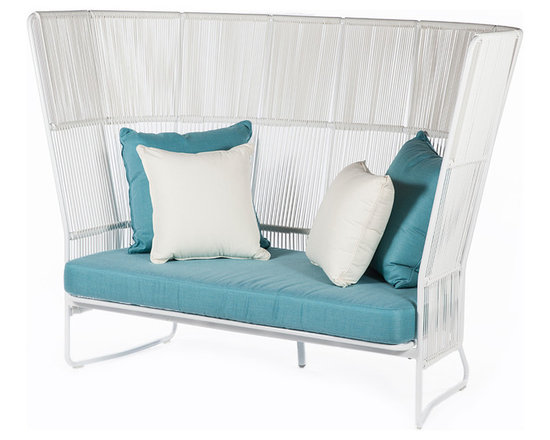 Control Brand - White Wicker Lounge Chair - Add chic style to your outdoor décor with this eye-catching lounge chair, featuring a weather-proof frame and colorful cushions.   Includes chair and cushions 49.6'' W x 67'' H x 34.6'' D Aluminum / wicker / polyacrylonitrile No assembly required Imported