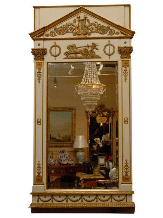Current Inventory for Purchase - Period Empire Russian Cream and Gilt Mirror, Circa 1800