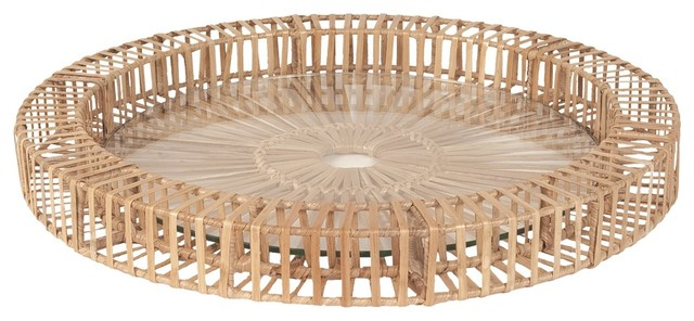 Lazy Susan LZS-466029 Natural Split Rattan Spoke Tray - Small contemporary-home-decor