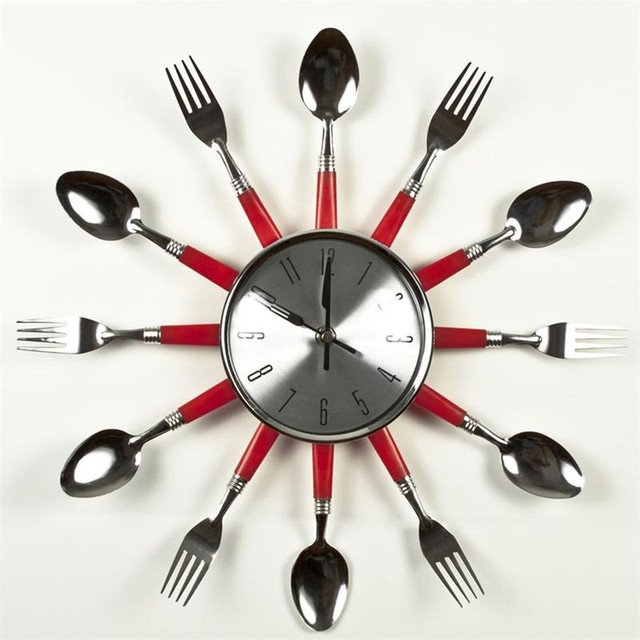 Red Utensil Flat Kitchen Wall Clock